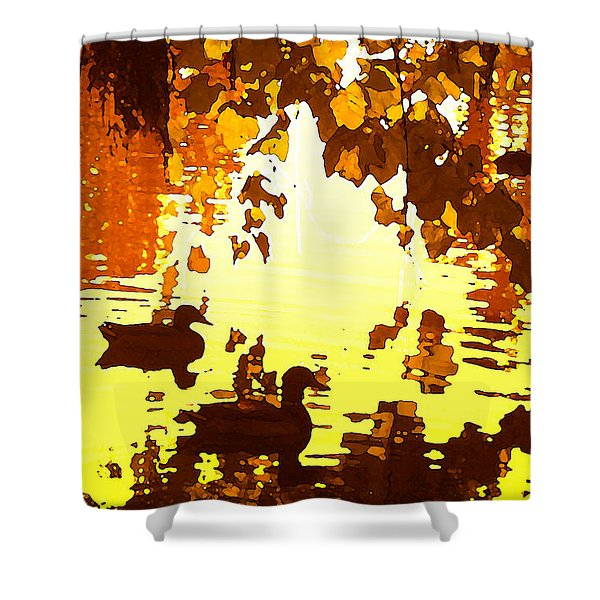Ducks On Red Lake B Shower Curtain by Amy Vangsgard