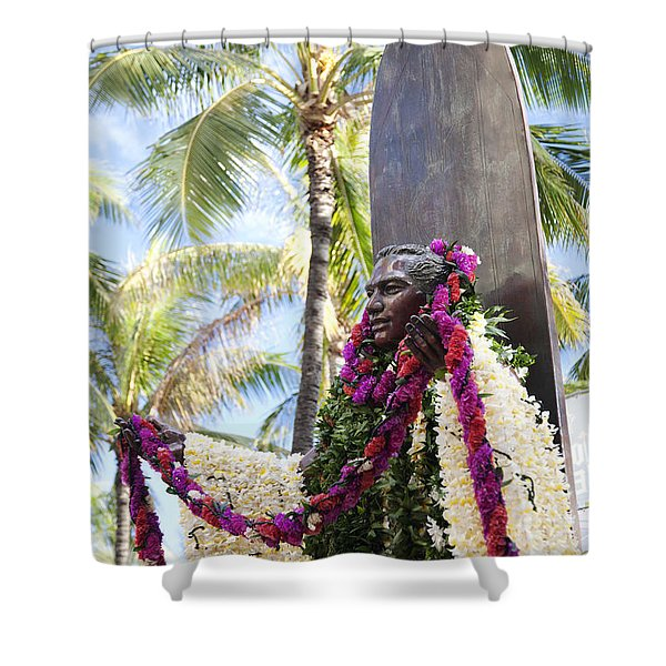 Duke Kahanamoku Covered in Leis Shower Curtain by Brandon Tabiolo