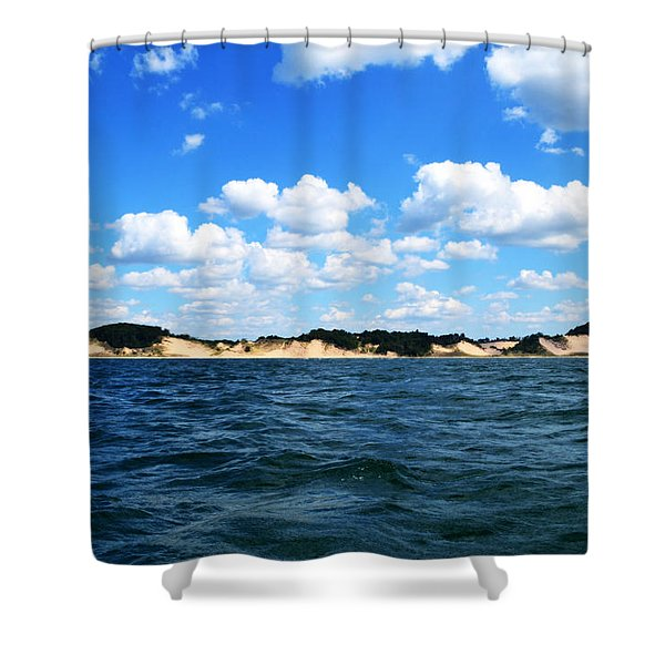 Dunes And Lake Michigan Shower Curtain by Michelle Calkins