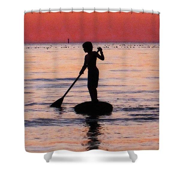 Dusk Float - Sunset Art Shower Curtain by Sharon Cummings