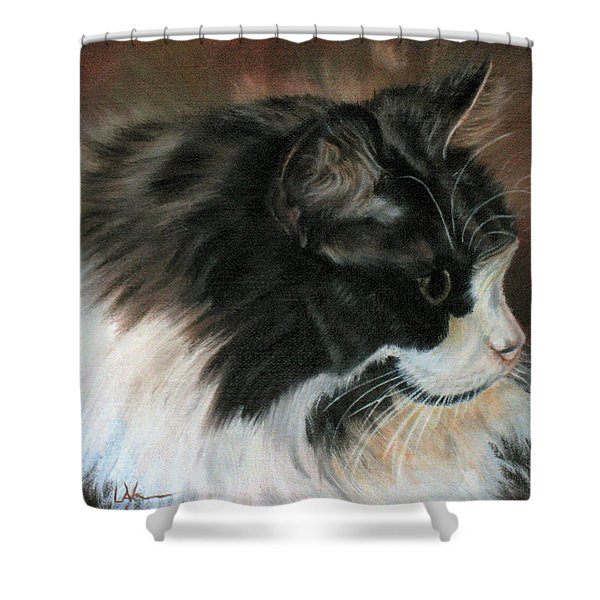 Dusty Our Handsome Norwegian Forest Kitty Shower Curtain by LaVonne Hand