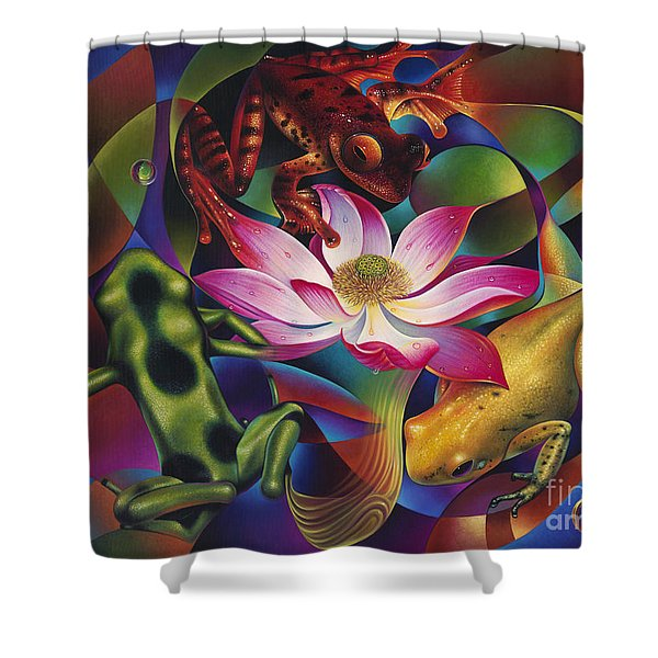 Dynamic Frogs Shower Curtain by Ricardo Chavez-Mendez