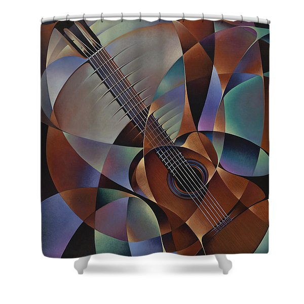 Dynamic Guitar Shower Curtain by Ricardo Chavez-Mendez