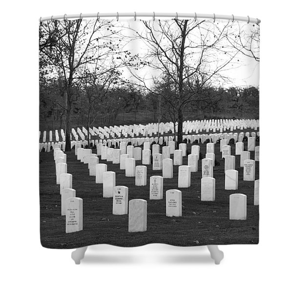 Eagle Point National Cemetery In Black And White Shower Curtain by Mick Anderson