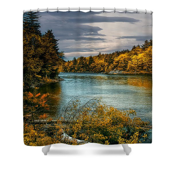 Early Autumn Along the Androscoggin River Shower Curtain by Bob Orsillo