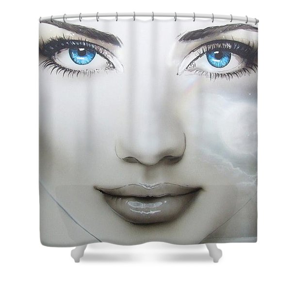 'Earth Moon' Shower Curtain by Christian Chapman Art
