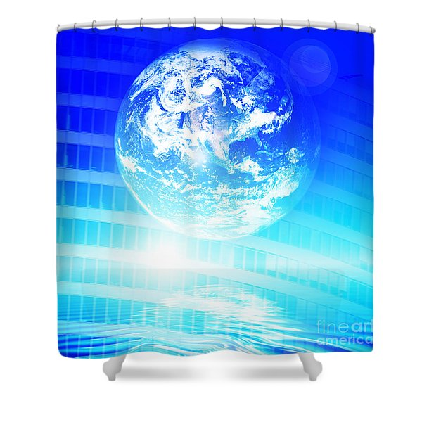Earth technology background Shower Curtain by Michal Bednarek