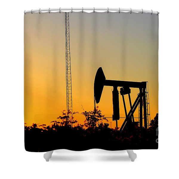 East Texas Pumpjack At Sunset Shower Curtain by Kathy  White