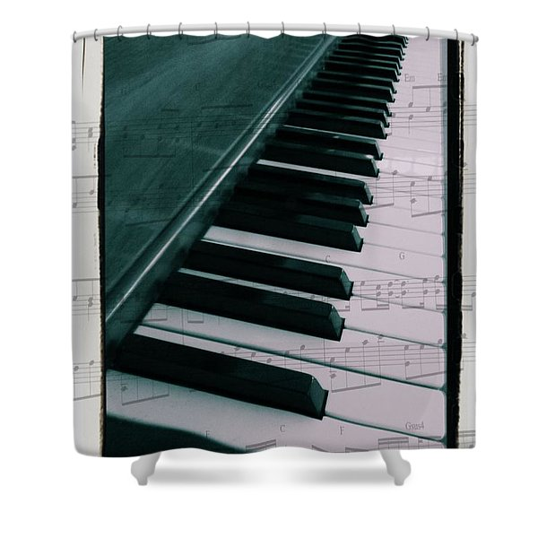 Eat Sleep Play Piano Shower Curtain by Dan Sproul