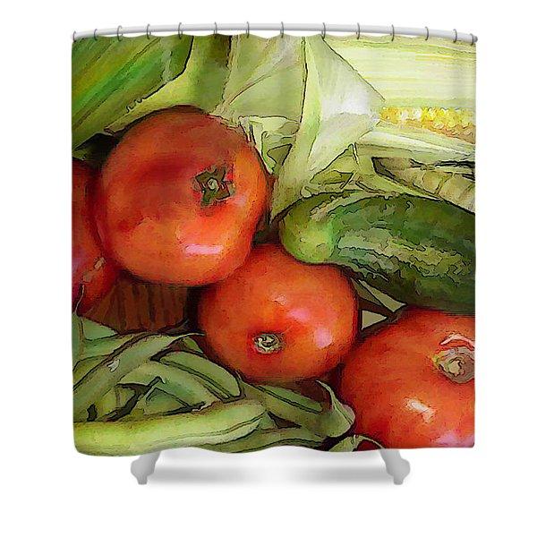 Eat Your Veggies Shower Curtain by Elaine Plesser