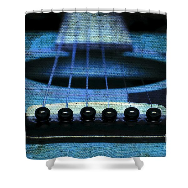 Edgy Abstract Eclectic Guitar 17 Shower Curtain by Andee Design
