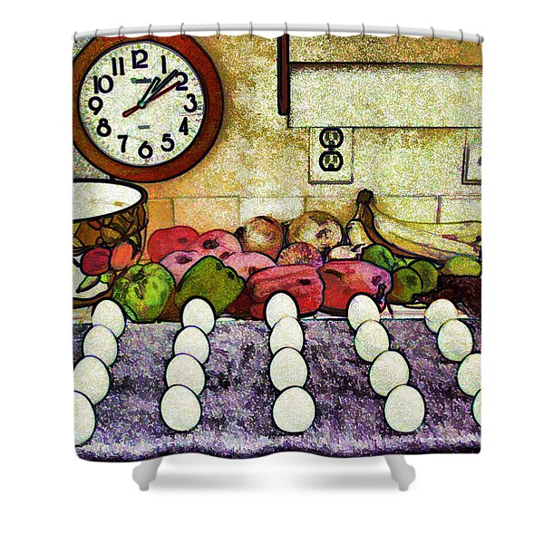 Eggs On Display Shower Curtain by Chuck Staley