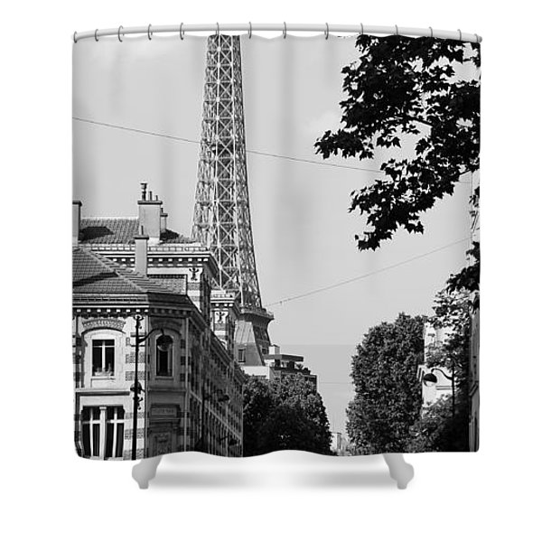 Eiffel Tower Black and White 4 Shower Curtain by Andrew Fare