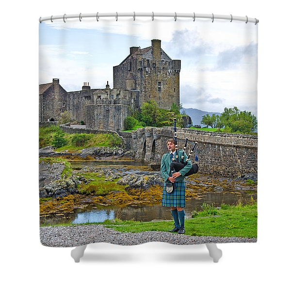 Eilean Donan Castle and the Lone Piper Shower Curtain by Chris Thaxter