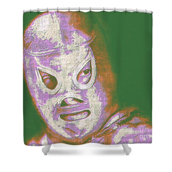 El Santo The Masked Wrestler 20130218v2m128 Shower Curtain by Wingsdomain Art and Photography