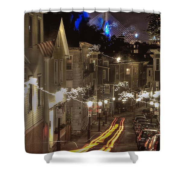 Electrified Boston Shower Curtain by Joann Vitali