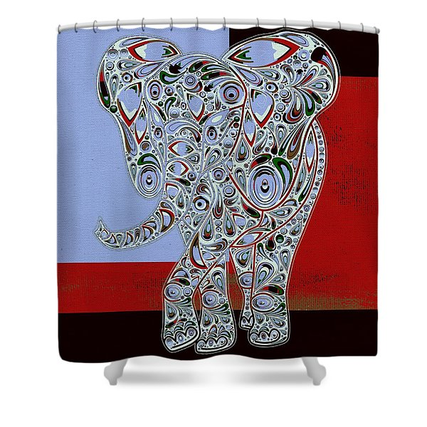 Elefantos - 01ac9at01 Shower Curtain by Variance Collections