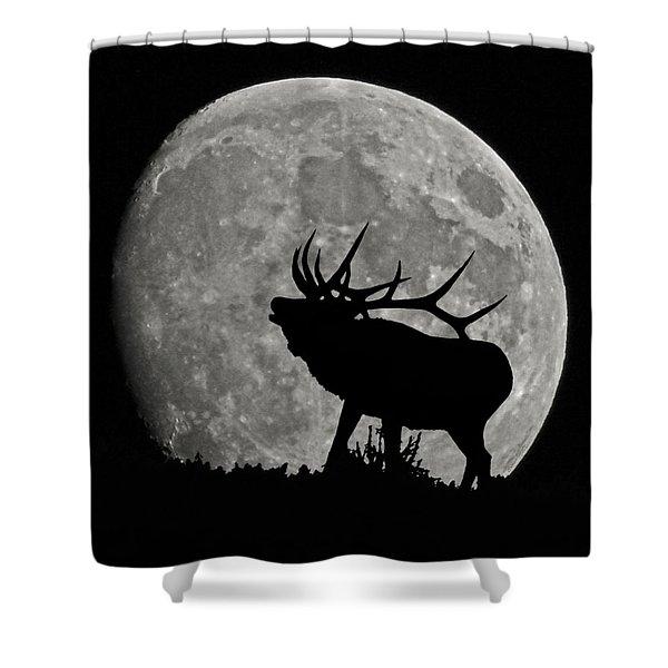 Elk silhouette on moon Shower Curtain by Ernie Echols