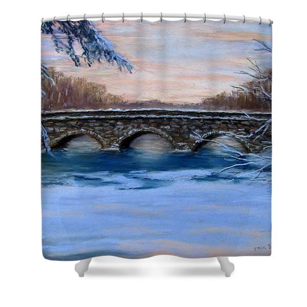 Elm Street Bridge on a Winter's Morn Shower Curtain by Jack Skinner