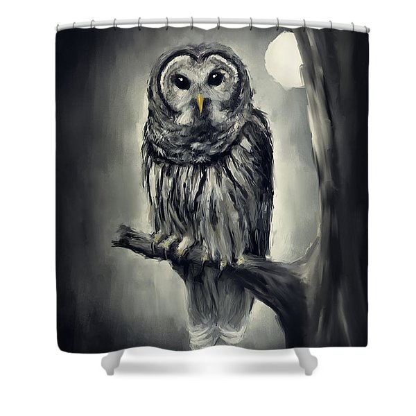 Elusive Owl Shower Curtain by Lourry Legarde