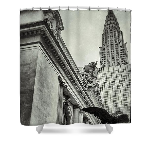 Empire State Building And Grand Central Station Vintage Black And White Shower Curtain by For Ninety One Days
