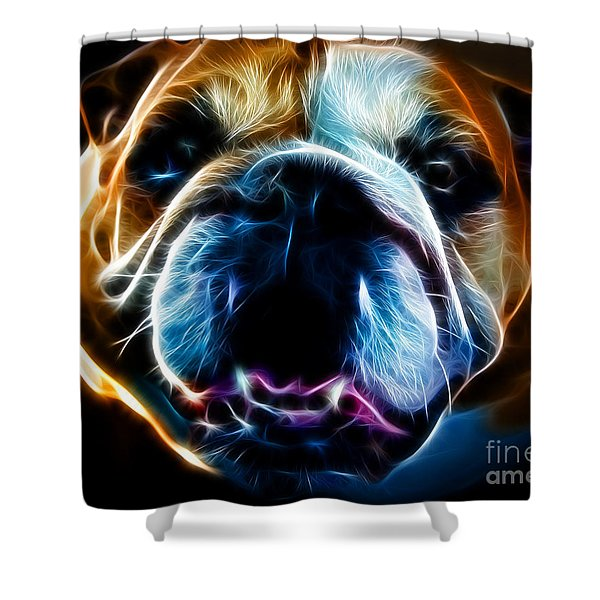 English Bulldog - Electric Shower Curtain by Wingsdomain Art and Photography
