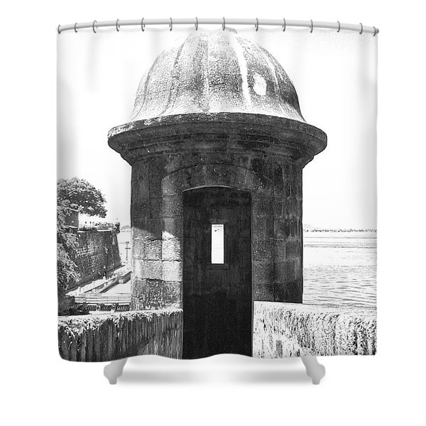 Entrance to Sentry Tower Castillo San Felipe Del Morro Fortress San Juan Puerto Rico BW Film Grain Shower Curtain by Shawn O'Brien