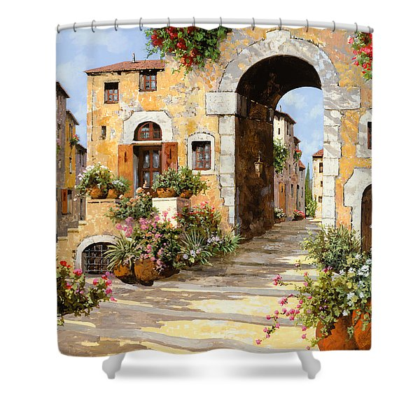 Entrata Al Borgo Shower Curtain by Guido Borelli