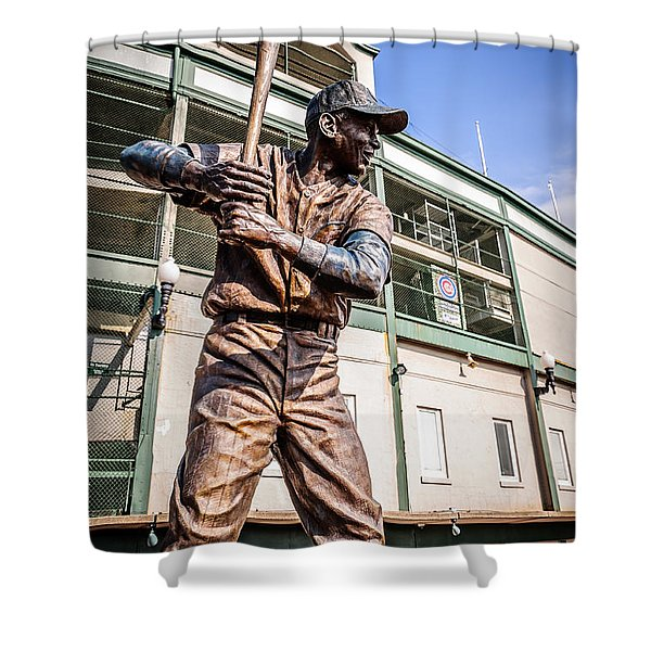 Ernie Banks Statue at Wrigley Field  Shower Curtain by Paul Velgos