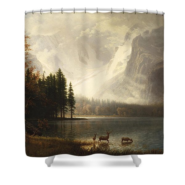 Estes Park Colorado Whytes Lake Shower Curtain by Albert Bierstadt