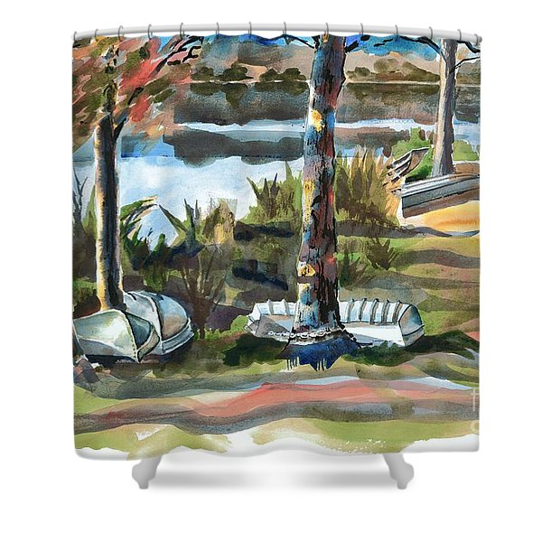 Evening Shadows at Shepherd Mountain Lake  No W101 Shower Curtain by Kip DeVore