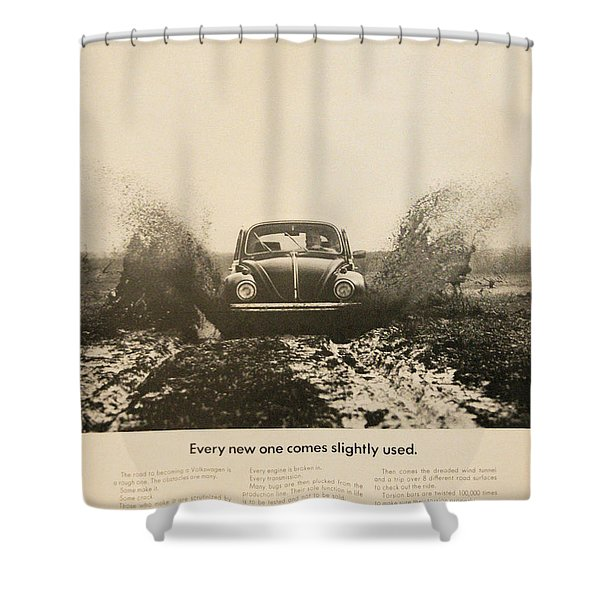 Every New One Comes Slightly Used - Vintage Volkswagen Advert Shower Curtain by Nomad Art And  Design