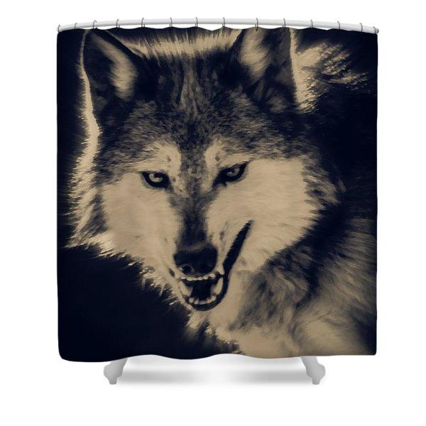 Evil Wolf Shower Curtain by Ernie Echols