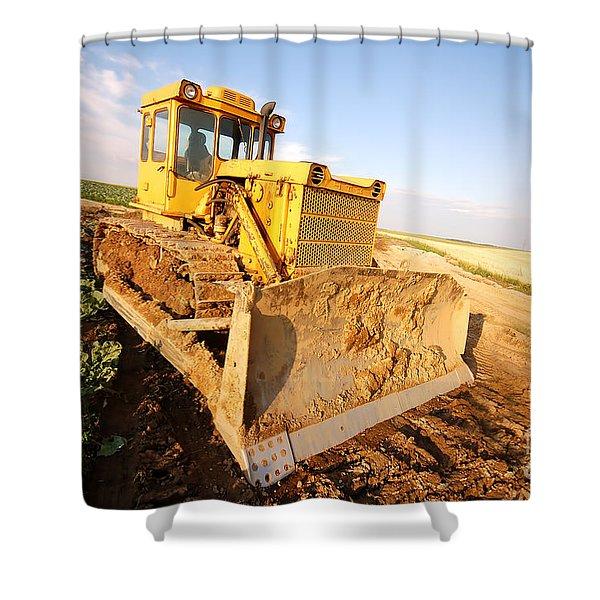 Excavator Working Shower Curtain by Michal Bednarek