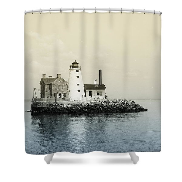 Execution Rocks Lighthouse New York Shower Curtain by Digital Reproductions