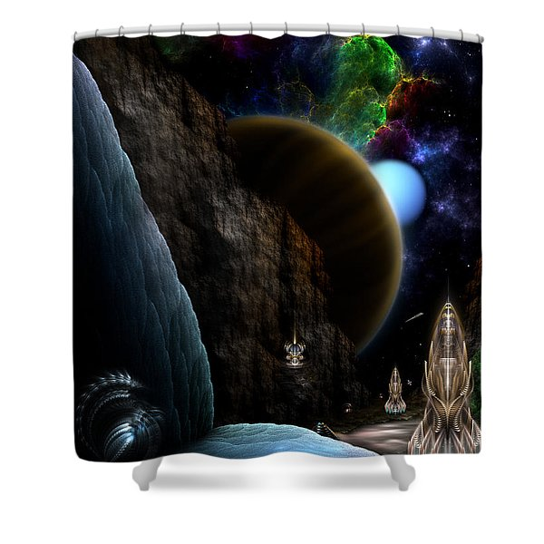 Exploration Of Space Shower Curtain by Rolando Burbon