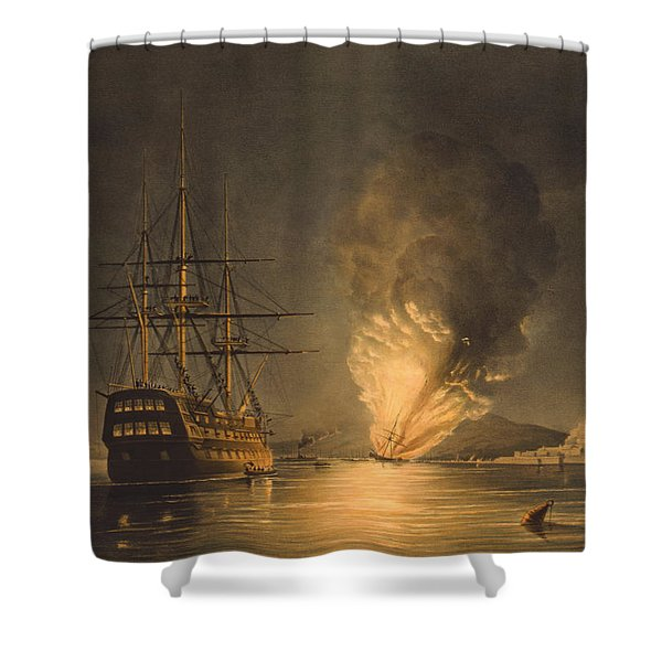 Explosion Of The Uss Steam Frigate Missouri Shower Curtain by War Is Hell Store