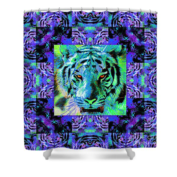 Eyes Of The Bengal Tiger Abstract Window 20130205m80 Shower Curtain by Wingsdomain Art and Photography
