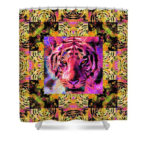 Eyes of The Bengal Tiger Abstract Window 20130205p80 Shower Curtain by Wingsdomain Art and Photography