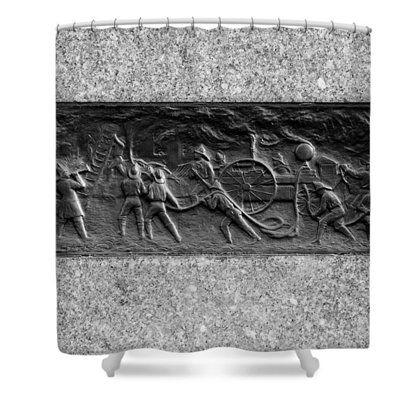 F. D. N. Y. In Black And White Shower Curtain by Rob Hans