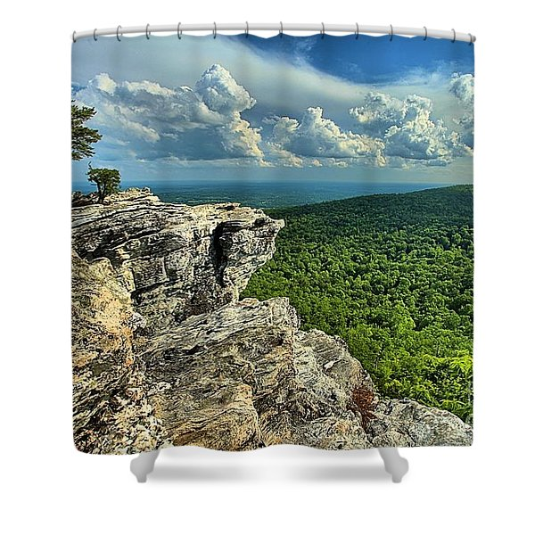 Face In The Cliff Shower Curtain by Adam Jewell