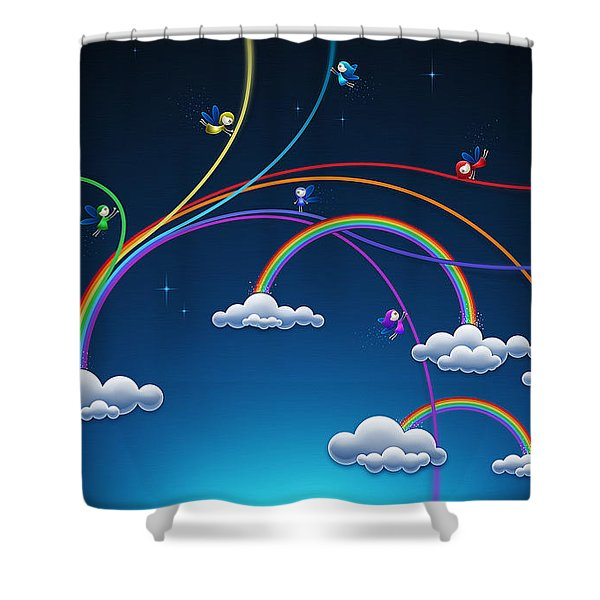Fairies Made Rainbow Shower Curtain by Gianfranco Weiss