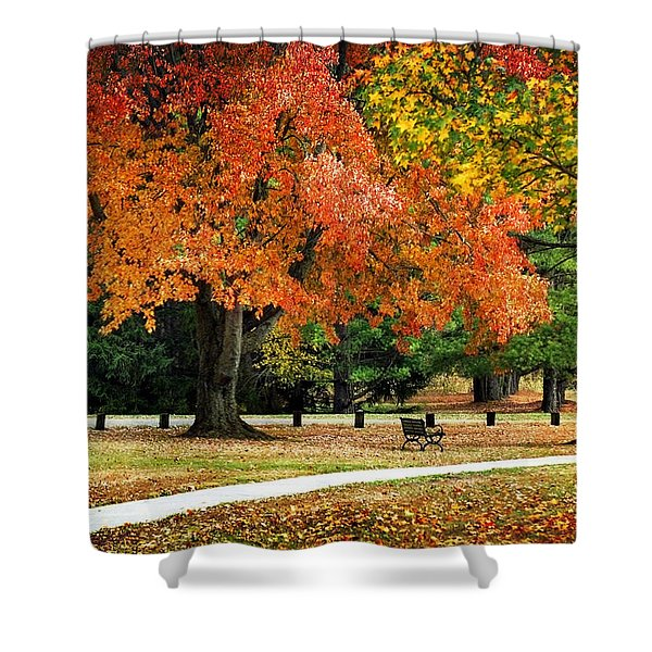 Fall In The Park Shower Curtain by Christina Rollo