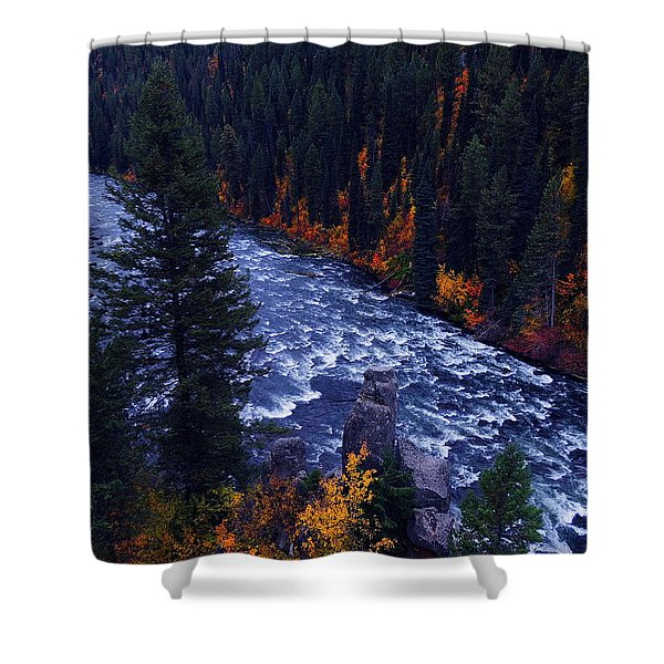 Fall Lined RIver Shower Curtain by Raymond Salani III