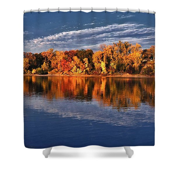 Fall on the Mississippi river Shower Curtain by Todd and candice Dailey