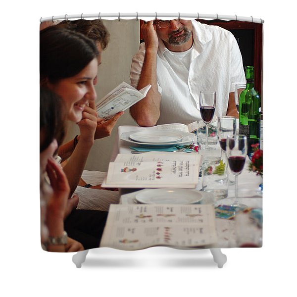 Family around the sedder table Shower Curtain by Ilan Rosen
