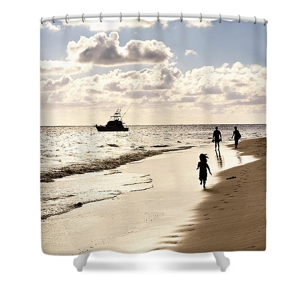 Family On Sunset Beach Shower Curtain by Elena Elisseeva