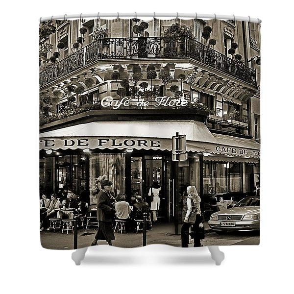 Famous Cafe De Flore - Paris Shower Curtain by Carlos Alkmin
