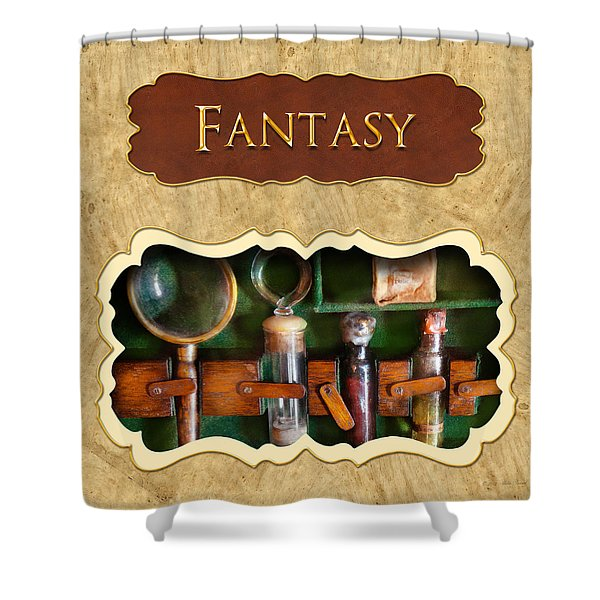 Fantasy button Shower Curtain by Mike Savad