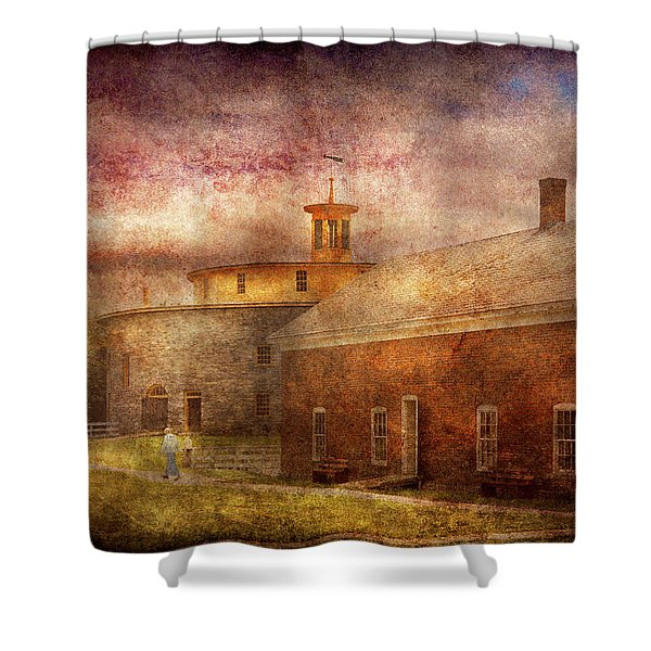 Farm - Barn - Shaker Barn  Shower Curtain by Mike Savad